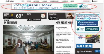 Uber Ads on Austin Statesman Homepage--Statesman Opposes Prop 1
