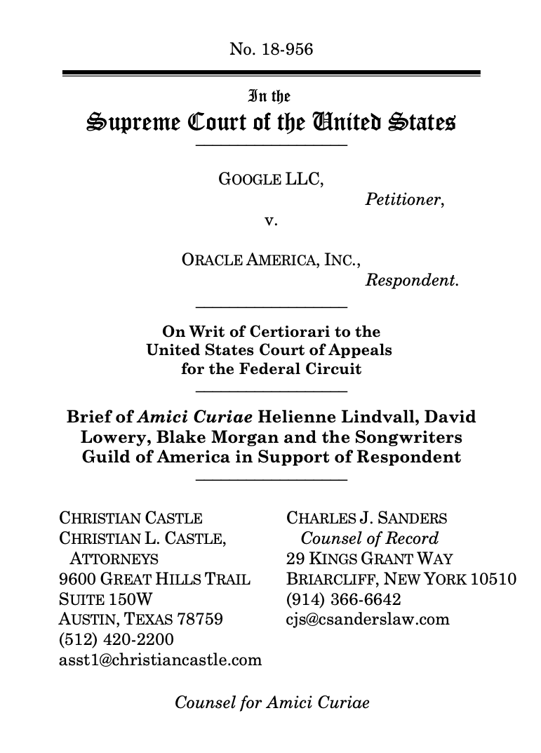 SCOTUS Brief Cover Page