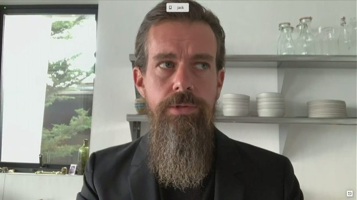 Twitter CEO Dorsey testifies remotely at Senate Judiciary Committee hearing about Facebook and Twitter's content moderation decisions on Capitol Hill in Washington